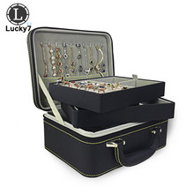 Jewelry Display PU Leather 2Layers Jewelry Organizer Case Black Zipper Box Earrings Necklace Ring Makeup Travel Jewelry Hand Bag