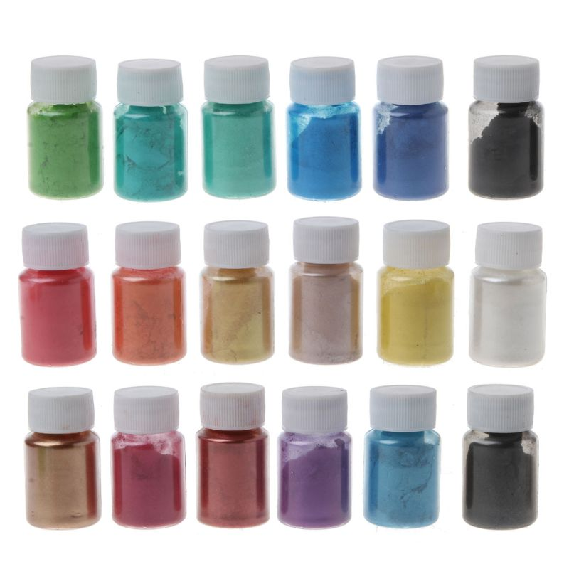 18Color Cosmetic Grade Pearlescent Mica Powder Soap Makeup Art Colorant Epoxy Resin Dye Pearl Pigment Jewelry Making 10g