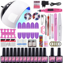 Nagel Set UV LED Lamp Droger Met Kiezen 6/10/12 Kleuren Nail Gel Polish Kit Losweken manicure Boor Machine Kit Nail Art Gereedschap(China)