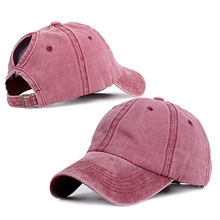 Baseball Cap Solid Washed Cotton Ponytail Hat Headwear Outdo