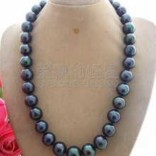 N120106 Great! AA 12MM-14MM Black Pearl Necklace