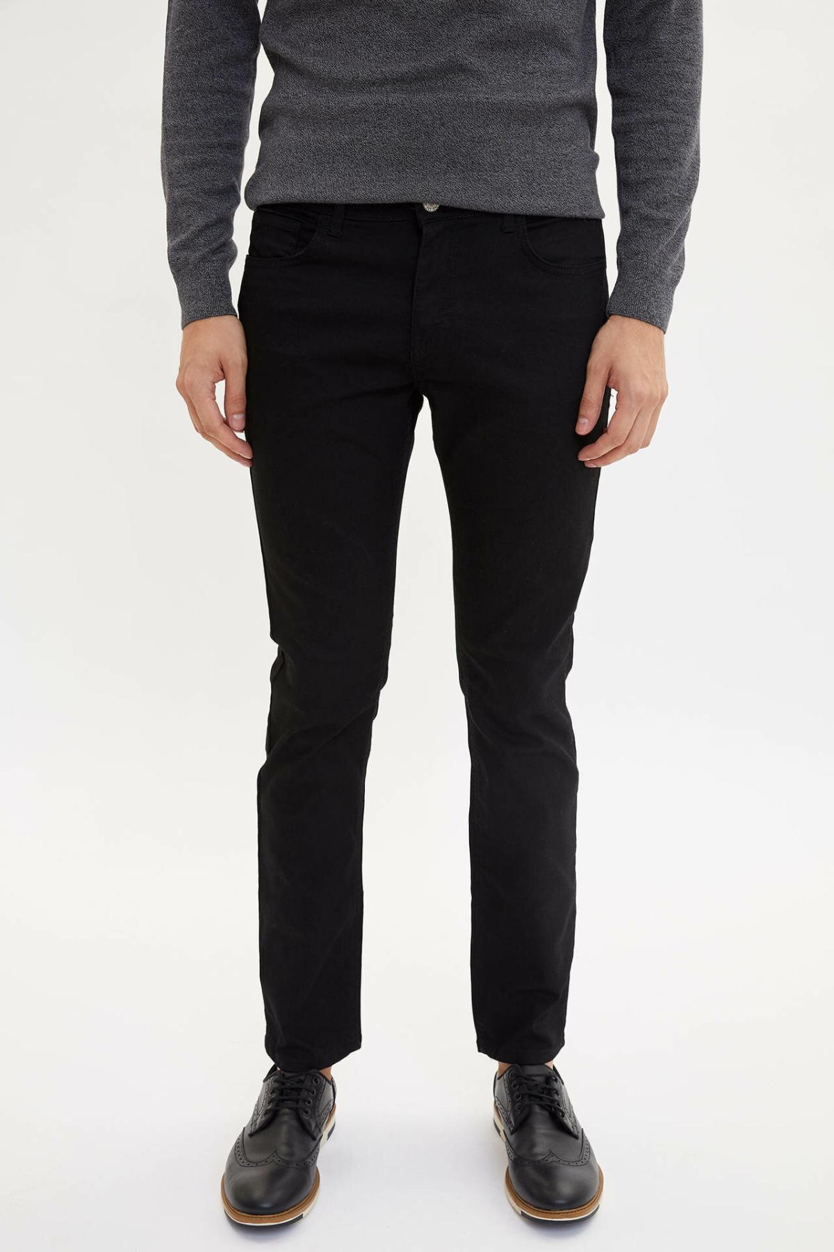 DeFacto Man Autumn Black Denim Jeans Men Casual Fit Slim Denim Bottoms Male Mid-waist Trousers-L6736AZ19AU