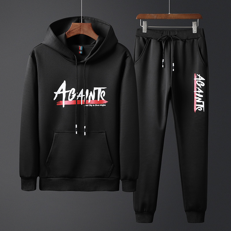 Spring And Autumn New Style Men's Leisure Sports Suit, Fashion Street, Men Hooded Pullover Set