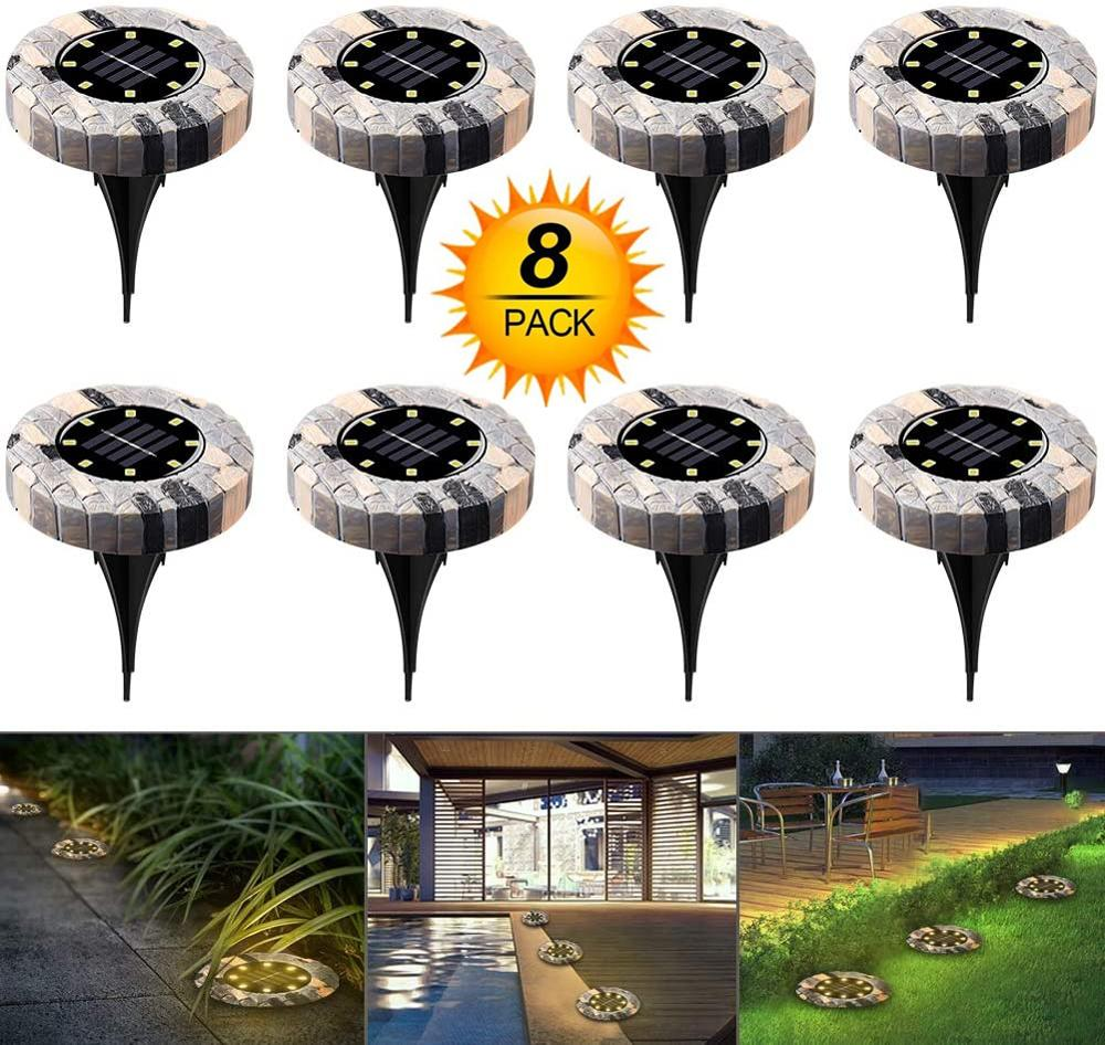 8Pack Solar Powered Ground Light Waterproof Garden Pathway Deck Lights 16 LED Solar Lamp For Home Yard Driveway Lawn Road