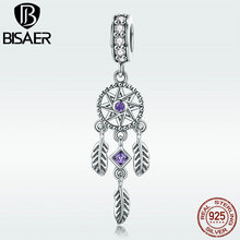Charms Genuine 925 Sterling Silver Boho Feather Dream Catcher Long Pendant for Women Silver Charm Bracelet or Necklace GXC841 eudora 925 sterling silver vintage dream catcher charms