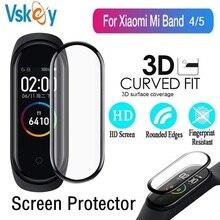 Protetor de tela 3d para xiaomi mi band 5, protetor macio de tela para smartwatch miband 4, película protetora de cobertura completa (sem 100 peças vidro temperado)