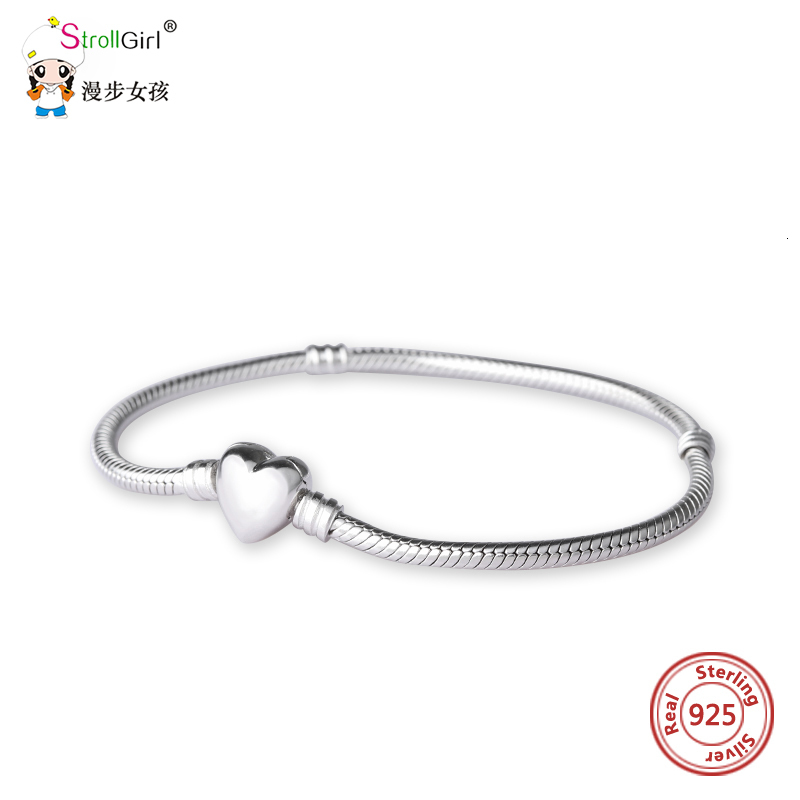 StrollGirl Luxury 100 925 Sterling Silver Heart Snake Chain DIY Charms Genuine Bracelet Women Fashion Jewelry Making For Gifts in Charm Bracelets from Jewelry Accessories