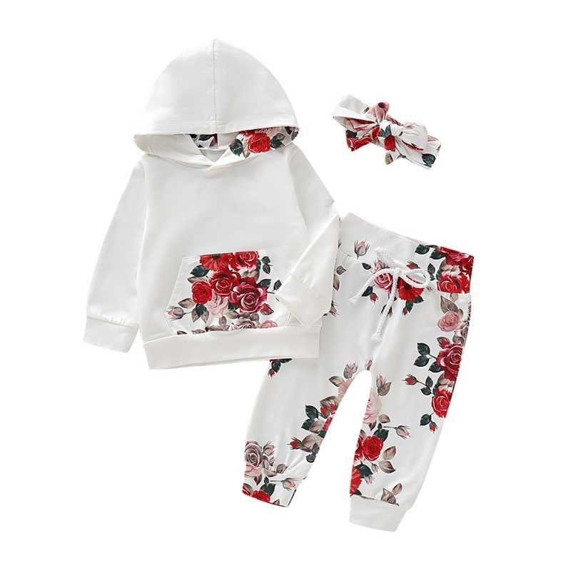 Autumn Baby Girls Clothes 3PCS Baby Clothes Floral Hooded Sweatshirts+Pants+Headband Sports Outfits Sets Spring
