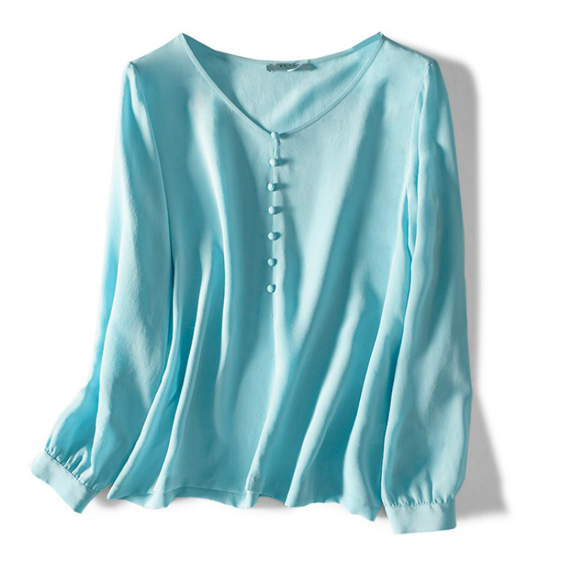 100% Natural Silk Women Blouse 2020 Summer V-Neck Button  Solid Office Lady High Quality Shirt For Woman Long Sleeve Blouse