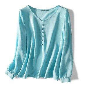 100% naturalny jedwab kobiety bluzka 2020 lato V-Neck przycisk solidna urząd Lady wysokiej jakości koszula dla kobiety z długim rękawem bluzka
