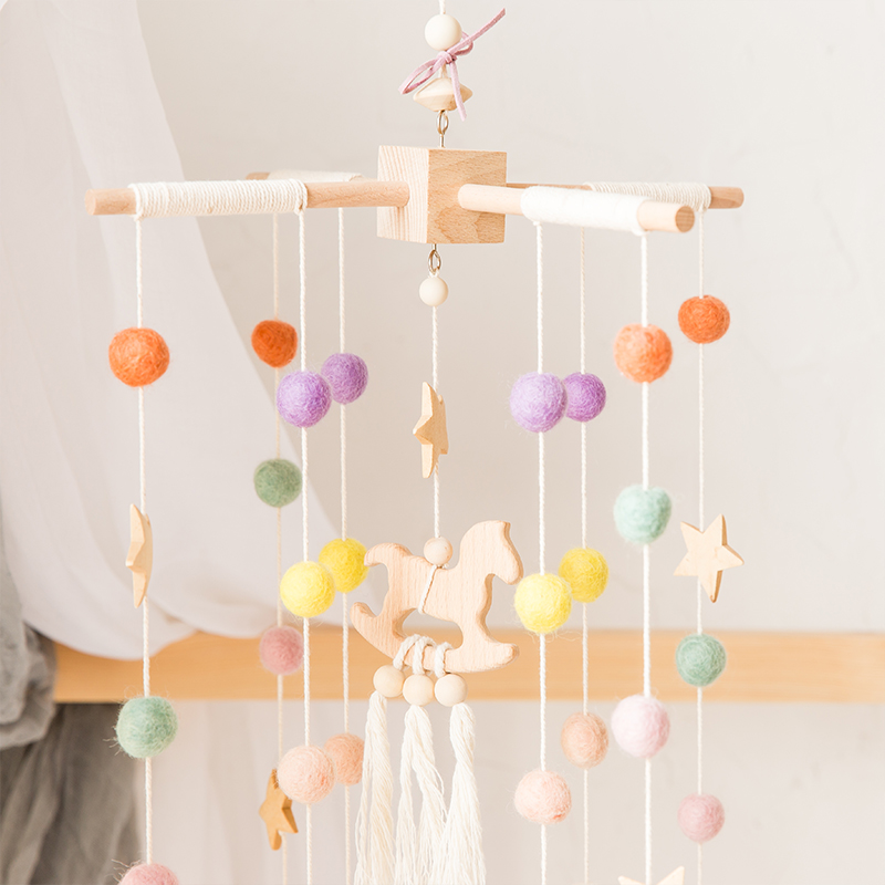 1 Set  Baby Mobile Bed Bell Silicone Beads Beech Wood Bird Rattles  Kid Room Bed Hanging Decor Wood Rodent Children Products Toy