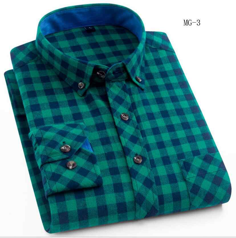2020 格子縞のシャツ新秋冬フランネル赤市松シャツメンズシャツ長袖シュミーズオム綿男性チェックシャツ