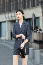 JRHYME Vintage Classic Fit Plaid Blazer Shorts Set, Navy Blue Sexy Casual Three Quarter Sleeves Windowpane Check Suits Shorts zip front check plaid shorts