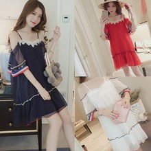 Neckline Knee-Length Solid Color Women A-Line Sexy Temperament Summer Sling Mid-length Ruffle Sleeve Casual Dress