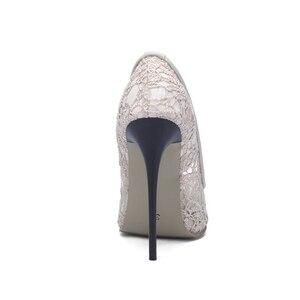 Image 4 - BLXQPYT Big Size Sale 34 48 Fashion Sexy Pointed Toe Women Pumps Platform High Heels12CM Ladies Wedding Party Shoes Woman 8735
