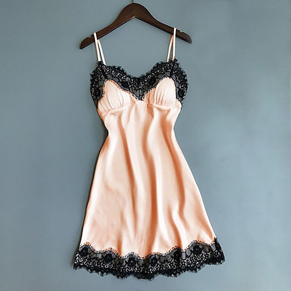 Women's Sexy Lingerie Silk Nightgown Summer Dress Lace Night Dress Sleepwear Babydoll Nightie Satin Homewear Chest Pad Nightwear