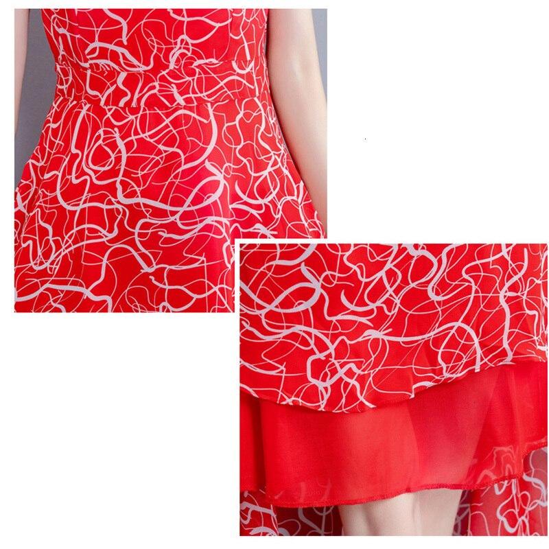 Grande taille 5XL 2019 nouveau été imprimer fleurs robe femmes col en V court Mouwen mousseline de soie bohème robes plage femmes longue robe - 6