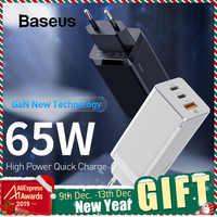 Baseus 65 w gan carregador rápido com carga rápida 4.0 3.0 afc scp usb pd carregador para iphone 11 pro macbook pro xiaomi samsung huawei