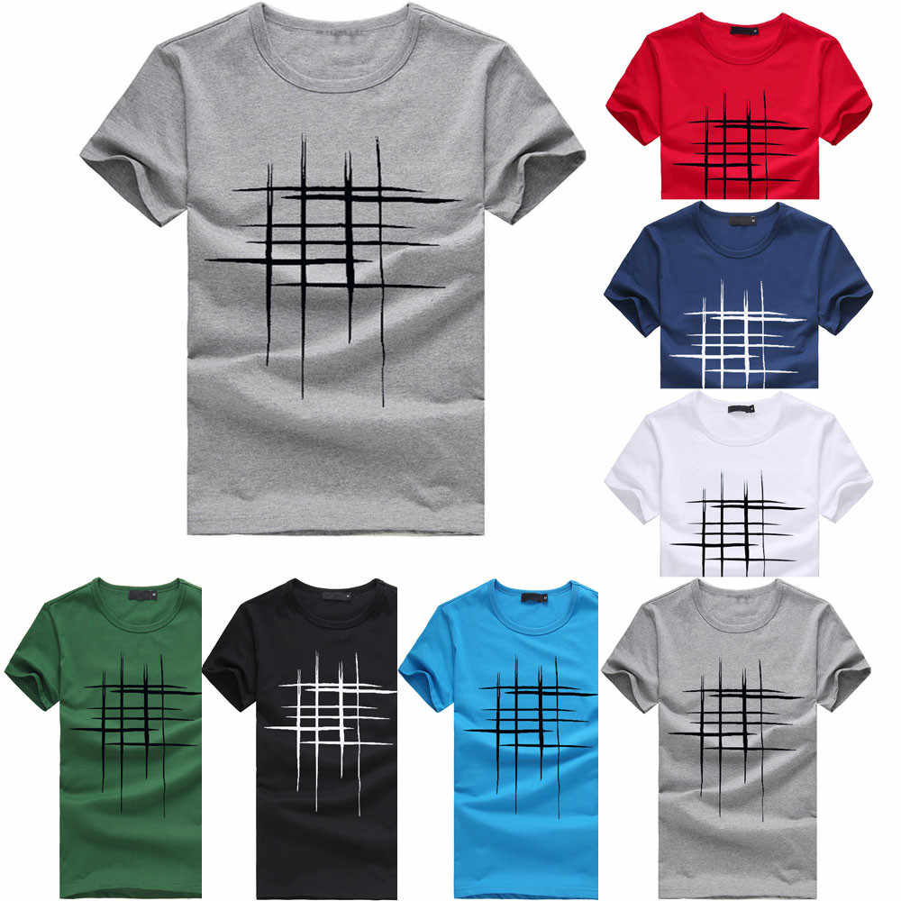 Men Letter Line Print Cotton T-Shirt Plus Size Simple O-Neck Short Sleeve Camisa Fashion Breathable Comfort Casual Slim Tops #D