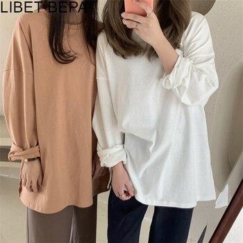 Nieuwe 2020 Herfst Winter Vrouwen Dieptepunt Losse Solid Multi Kleuren Casual Modieuze T-shirt Minimalistische Lange Mouw Tops T601