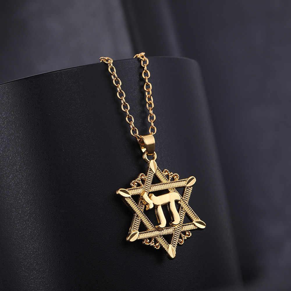 Lemegeton chai pendentif collier hommes David étoile collier couleur or chaîne collier symboles religieux Bijoux Bijoux