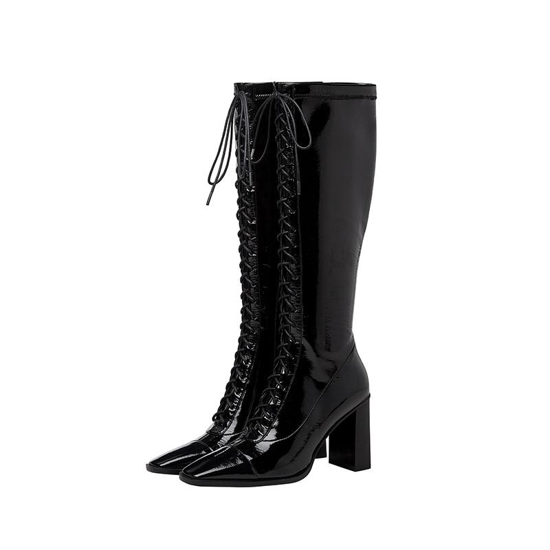 Prova perfetto 2020 elegante laço-up mulher botas de couro genuíno preto motocicleta botas salto quadrado moda mulher sapatos sexy
