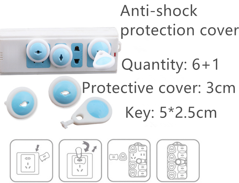 6 + 1 piezas ruso de la UE Europea Euro estándar del enchufe eléctrico enchufe de dos fases de bloqueo seguro para los niños del bebé de seguridad
