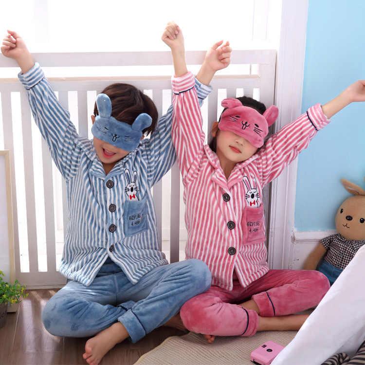 Invierno Navidad franela ropa de dormir niña niño Coral polar pijamas niños pijamas de piel niños traje de baño Camisa + pantalón + eyeshade