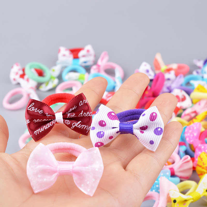 10 pcs New Girls Polka Dots Bow Elastic Hair Rubber Bands Accessories for Kids Tie Hair Ring Rope Line Holder Headdress clips A6
