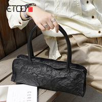 British style retro fashion small black handmade cowhide bag, lady leather shoulder handbag, casual bread women fold Bag