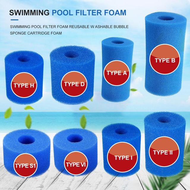 UK Foam Sponge Swimming Pool Filter Blue Reusable Cartridge For Intex Type H