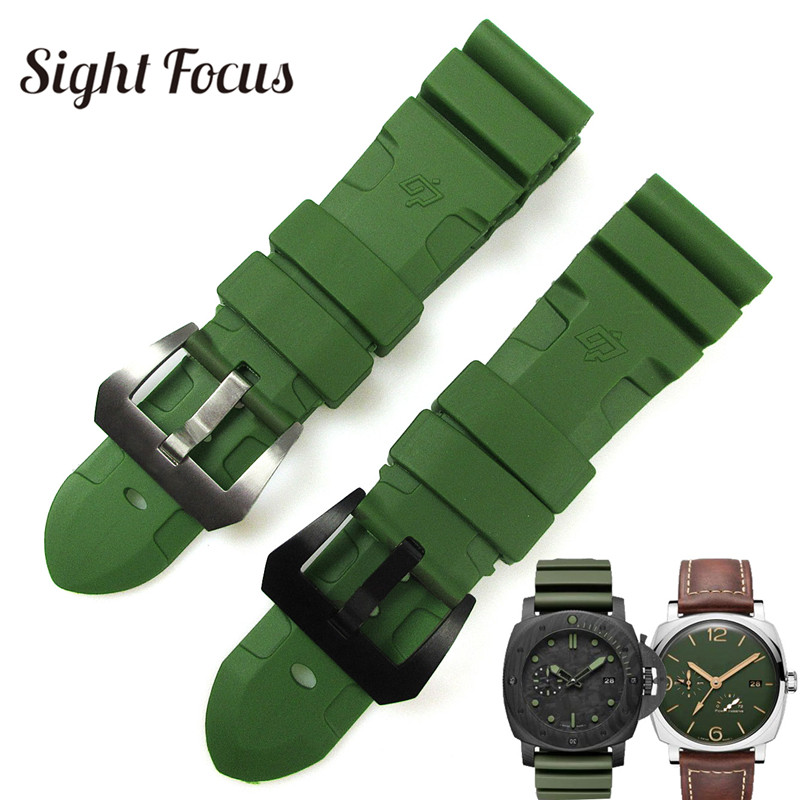 24mm 26mm Army Green Lighting Watch Band Replacement for Panerai Submersible Radiomir Sport Rubber Strap Bracelets Military Belt-in Watchbands from Watches