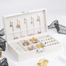 Exquisita caja de joyas de viaje para mujer, collar rectangular de cuero empaquetado de anillos, pendientes, organizador de almacenamiento, Cajas de Regalo de exhibición