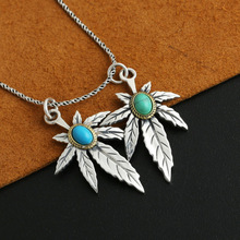 925 Sterling Silver Feather Eagle Maple leaf Turquoise Natural Crystal  Men Women Necklace Pendant Jewelry stylish faux turquoise carving leaf tassel necklace for women