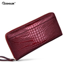 ZOOLER, las mejores carteras para mujer, de piel auténtica, Vintage, largo, bolso práctico de mano, para mujer, patrón de tarjeta, monedero, clip grande para bolsa de dinero