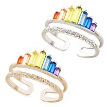 Frauen Open-end Crown Ring Einstellbare Doppel Band Reif Micro Diamanten Regenbogen Bunte Weibliche Engagement Hochzeit Geschenk