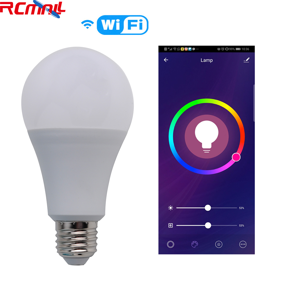 Wifi Smart RGB Light Bulb Voice Control Works With Tuya Smart Life Alexa Google IFTTT E27 RGBW 90-250V 2.4GHz RCmall