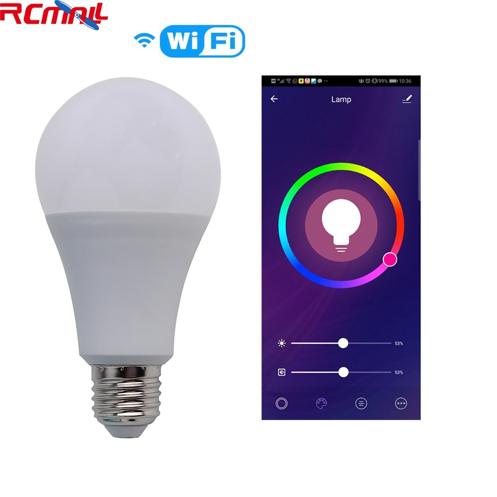 Wifi Smart RGB Light Bulb Voice Control Works With Tuya Smart Life Alexa Google IFTTT E27 RGBW 90-250V 2.4GHz RCmall