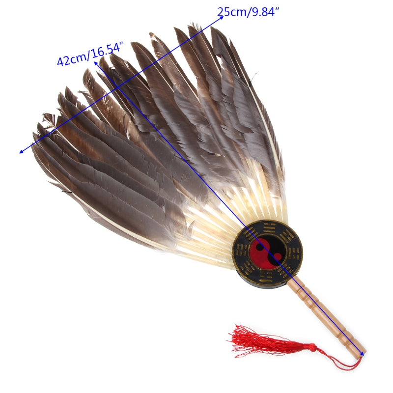 Feather Ancient Chinese Zhuge Liang Black Feather Hand Fan Bamboo Fan Decoration Dance For Home Decoration