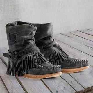 Sabit kadın orta buzağı düşük topuk Bohemia stil motosiklet botları saçaklı kovboy çizmeleri ayakkabı İlkbahar sonbahar kadın çizmeler