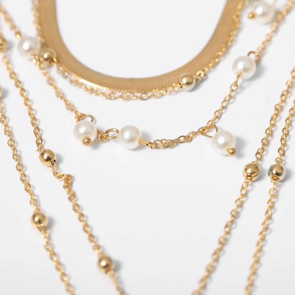 Purui Pendant Necklace Jewelry Chain Choker Gift Imitation-Pearl Gold-Color Bohemian