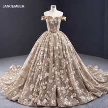 J67081 jancember Khaki plus size long evening gowns boat neck off shoulder appliques dubai evening dresses sukienki wieczorowe(China)