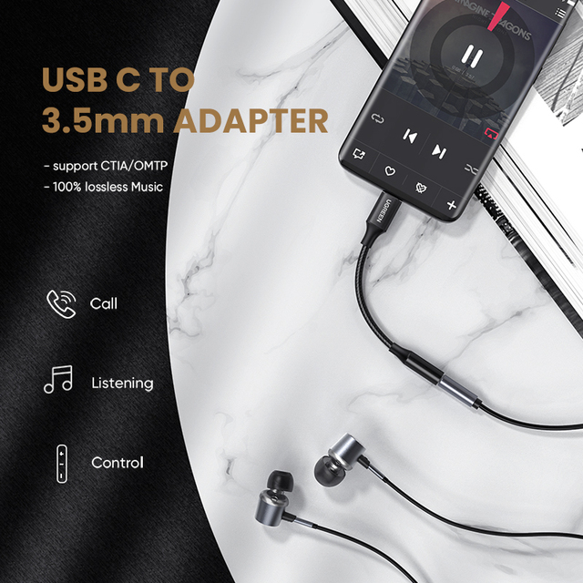 Ugreen Type c to 3.5mm Headphone jack 3.5 AUX USB C Cable Audio USB C Adapter For Huawei V30 P30 pro Xiaomi Mi 10 Oneplus 7T pro