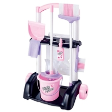 Trolley-Toy House Cleaning-Playset-Trolley Kids with Mop-And-Brush Cart-Tools Girls