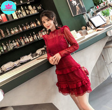 French 2019 autumn and winter new lace stitching layer cake bottoming dress Knee-Length  Zippers