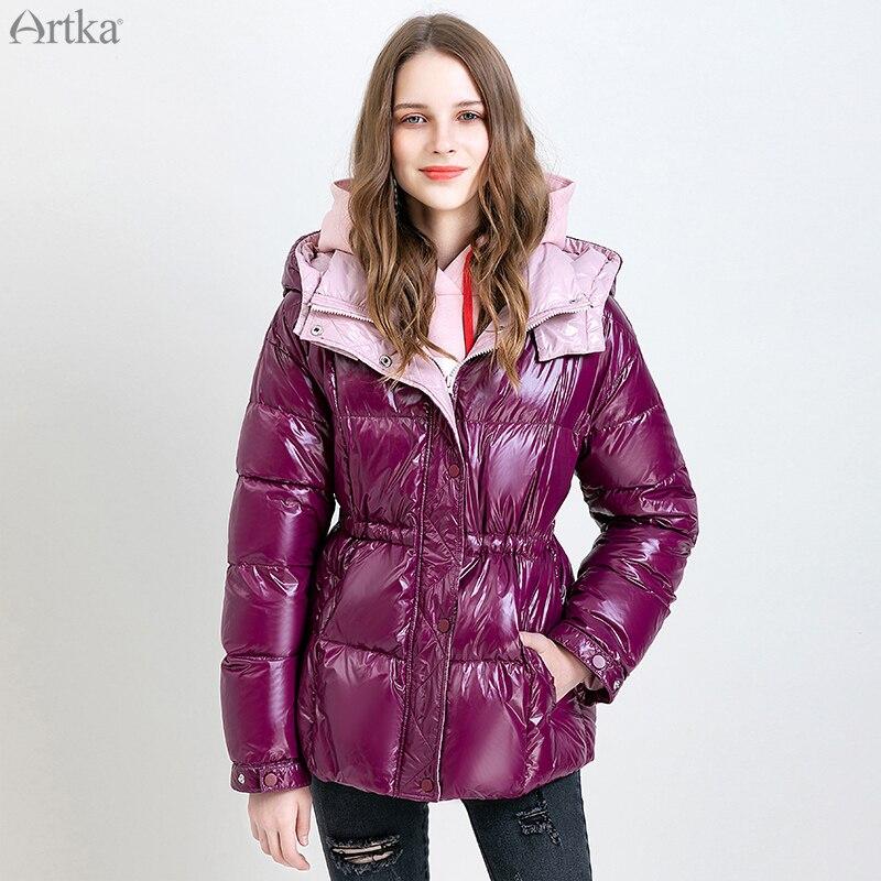 ARTKA 2019 Winter New Women 90% White Duck Down Coat Fashion Glossy Warm Jacket Casual Short Thicken Hooded Down Coat DK10199D