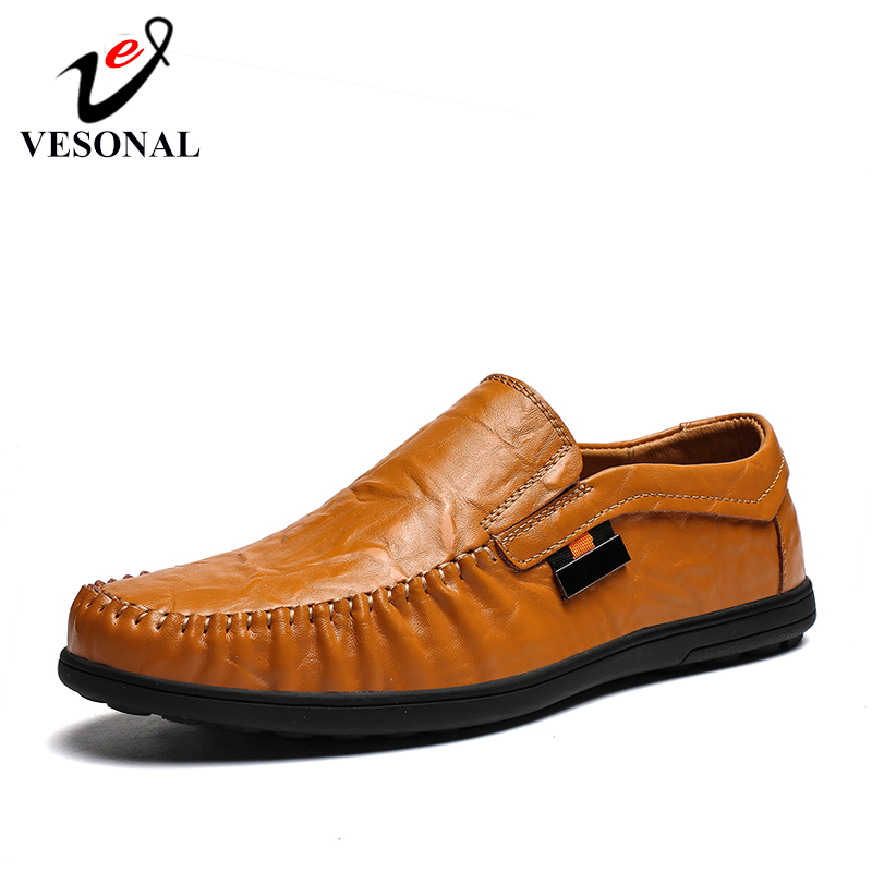 VESONAL Men Shoes Loafers Moccasins Driver Boat Casual Genuine-Leather Slip-On Male Breathable title=