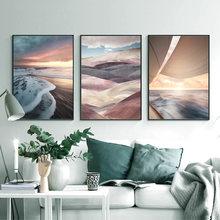 Extração paisagem pintura em tela montanha neve montanha nórdico cartaz impressão arte da parede imagem moderna sala de estar decoração
