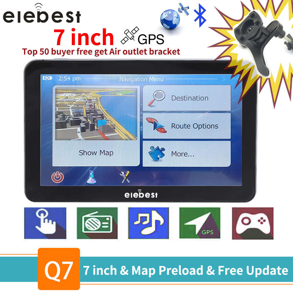 elebest gps navigation 7 inch Touch-Screen Gps-Navigator Car Vehicle Truck GPS Sat Nav BHT-Optional Europe etc Maps Free Upgrade