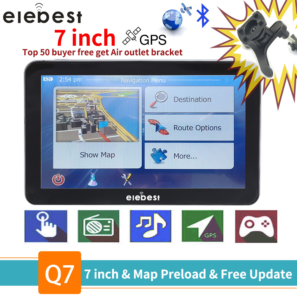 elebest gps navigation 7 inch TouchScreen Gps Navigator Car Vehicle Truck GPS Sat Nav BHT Optional Europe 2019 Maps Free Upgrade